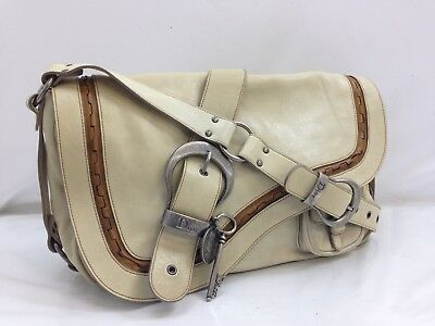 Auth Christian Dior Gaucho Double Saddle Bag Leather Vintage Ivory 8K150450Y 06df762c5fa71