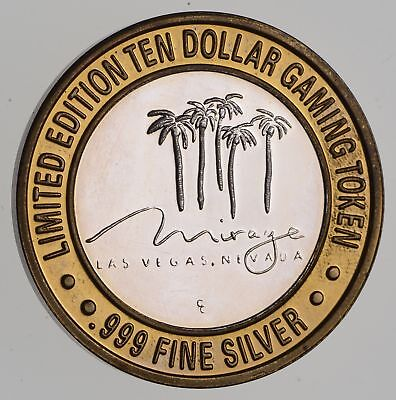 .999 Fine Silver Center The Mirage Las Vegas Casino $10 Token - Rare *930