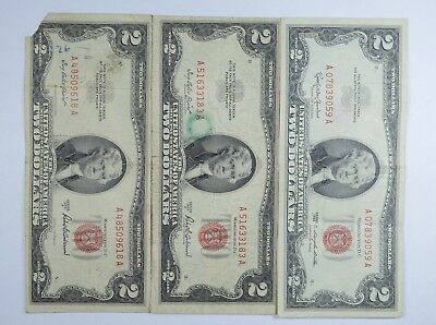 Lot (3) Red Seal $2.00 US 1953 or 1963 Notes - Currency Collection *113