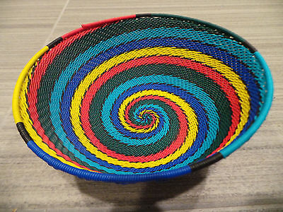 "6.75"" x 2.5"" HANDMADE WOVEN TELEPHONE WIRE BASKET BOWL SOUTH AFRICA ZULU SWIRL"