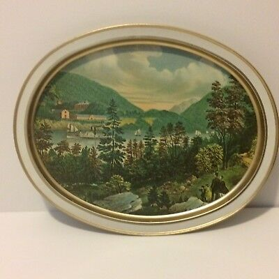 Vintage Currier And Ives West Point USMA Sunshine Biscuits 1983 Tin Tray