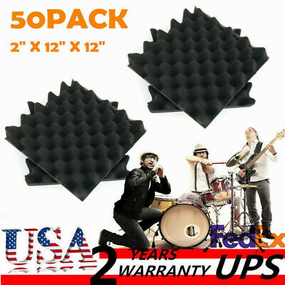 """50 Pack Acoustic Foam Panel Wedge Studio Soundproofing Wall Tiles 12"""" X 12"""" X 2"""""""
