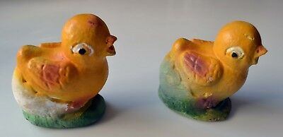 Two vintage chalkware Easter chickens