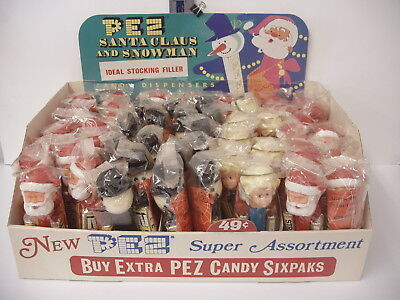 RARE VINTAGE PEZ Christmas Checkout COUNTER DISPLAY Box Super Assortment 52 pez