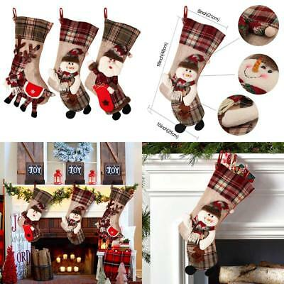 "Partytalk 18"" Large 3D Classic Christmas Stockings Set Of 3 Plaid Christmas Stoc"