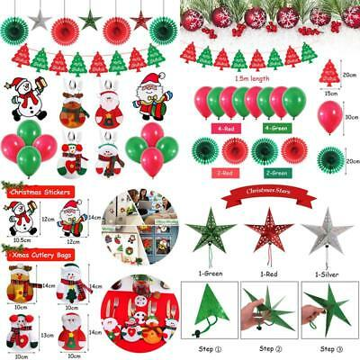 Merry Christmas Decorations Set Party Supplies,Hanging Paper Fans  Stars,Christ