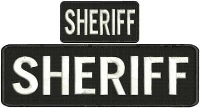 """""""Sheriff"""" embroidery patch  3x10 and 2x4 inches hook white"""