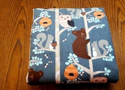 """HANDMADE """"BEARS & OWLS """" 34x42in FLANNEL BABY/TODDLER  QUILTED BLANKET GIFT IDEA"""