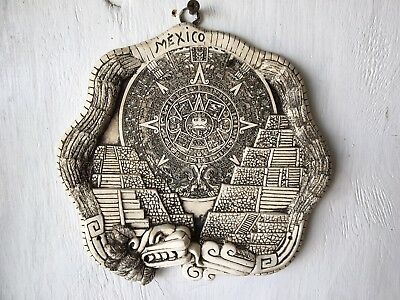 Aztec Calendar With Pyramids & Feathered Serpent Wall Plaque