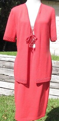 St John Collection by Marie Gray knit skirt suit, straight skirt, SZ 10/12