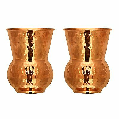Pure Copper Round Bottom Hammered Water Serving Purpose Copper Glass Cup Pack 2