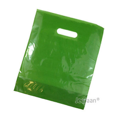 """200 Harrods Green Plastic Carrier Bags 10""""x12""""+4"""" Patch Handle Gift Retail"""