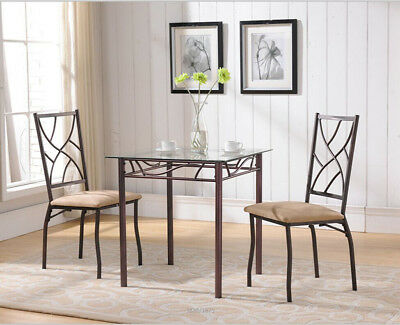 D106-4 Bronze Metal Square Kitchen Dining Dinette Table With Tempered Glass Top
