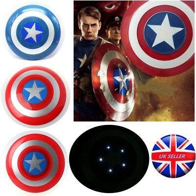 UK Avengers Captain America Shield with LED Light Kid Cosplay Toy Xmas Gift 30cm