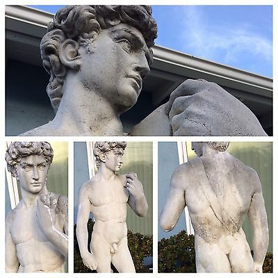 Weathered Lifesize Cast Cement Statue of Male Nude after Michelangelo's David
