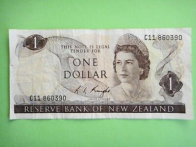 1975/77 - New Zealand  $1 Dollar  Old Paper Banknote  aVF Condition