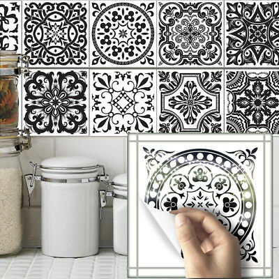 10pcs Black White Self-adhesive Bathroom Kitchen Wall Stair Floor Tile Sticker