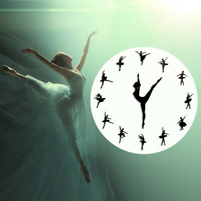 Ballerina Wall Clock Ballet Dancer Mute Living Room Decor 30cm Acrylic A4E8Y