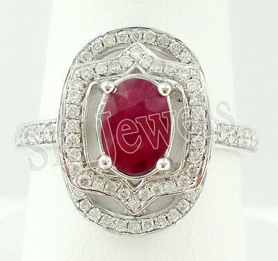 1.20ct NATURAL ROUND DIAMOND 14K SOLID WHITE GOLD RUBY ENGAGEMENT CLUSTER RING