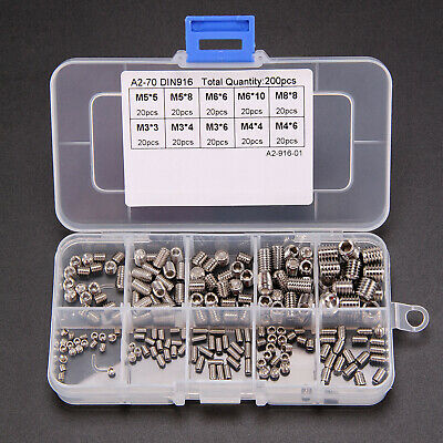 200PCS Allen Head Socket Hex Grub Screw Assortment Cup Point Set Stainless Steel