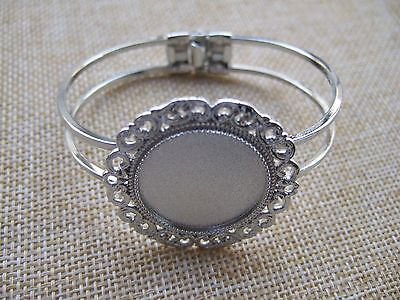 Silver Tone Cuff Bangle Bracelet Blanks Base 25mm Round Cameo Cabochon Setting