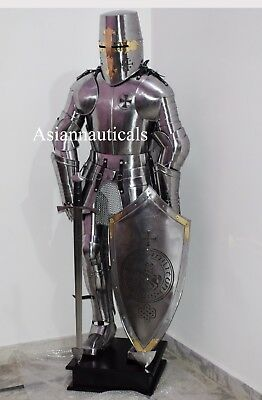 Crusader Knight Templar Wearable Suit Of Armour W/Sword, Shield, Wooden Stand