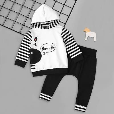 Newborn Baby Boy HERE I AM Hoodie Top Long Pants Winter Outfit Clothes Set 0-18M