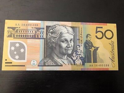 2016 $50 Note First Prefix AA16 RARE Uncirculated