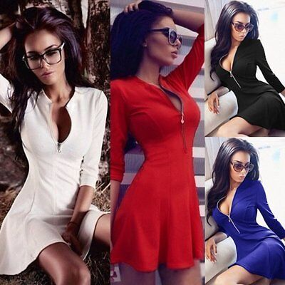 Sexy Women Deep V Zipper Long Sleeve Party Dress Evening Cocktail Mini Dress EW