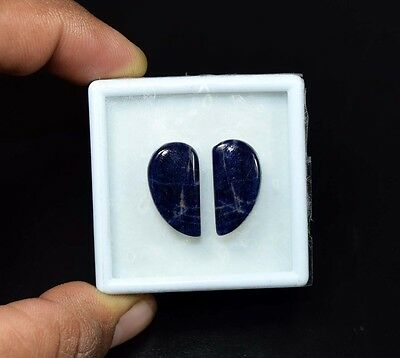 14.65 Cts. 100% Natural Pair Of Multi Sodalite Fancy Cabochon Loose Gemstones