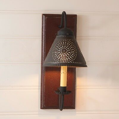 New Primitive Country Colonial RED ONION ELECTRIC LANTERN Hanging Oil Lamp