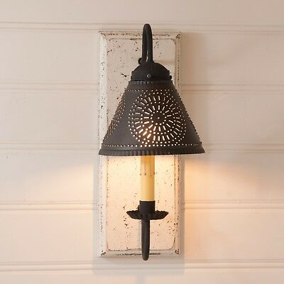 Primitive Country Colonial Farmhouse Crestwood Wall Sconce in Vintage White