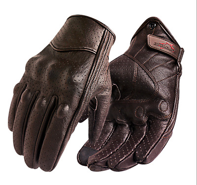 Motorcycle Gloves Genuine Leather Touch Screen Men