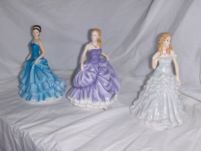 """3 BEAUTIFUL 7-1/2"""" Royal Doulton Lady Figurines, Mint Condition 15.3"""
