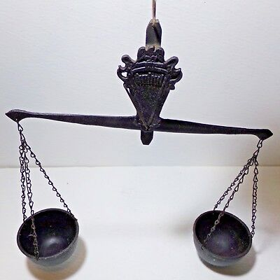 """Antique style Cast iron buckets scale balance weight 12"""" width Excellent cond."""
