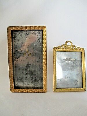 Small Antique Metal Picture Frames w/ Gold Tones Lot of 2