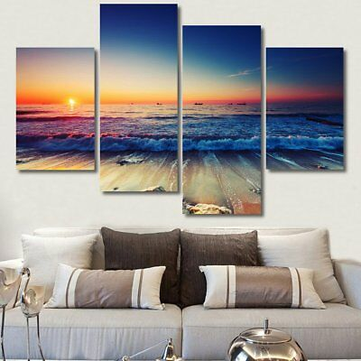4Pcs Sunset Beach Canvas Print Painting Picture Art Home Decor Framed/Unframed
