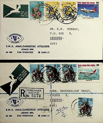 Swa 1975 2 Covers To Kendrew With Plant Flower Airmail Values