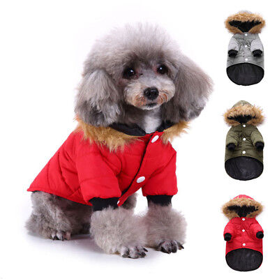 Pet Dog Clothes Winter Warm Coats Puppy Hoodie Jacket Jumpsuit Warmer Padded