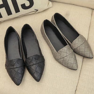 Women Casual Flat Shoes Sexy Ladies Pointed Toe Soft PU Leather Loafer Shoes YA