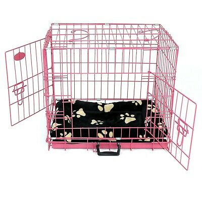 Dog Cage with Bed Crate Metal Training Pet Carrier Puppy Cat XS S M L XL XXL