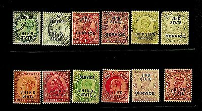 India Jind Ics State Mint + Used Coll. Of 12 Stamps