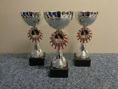 3 x TR17623C 190mm Silver & Red Cup on Marble base inc engraved plate & Centre