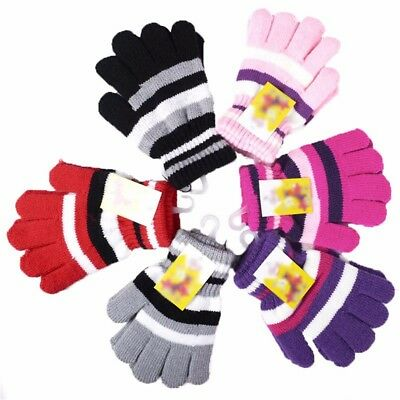 Fashion Warm Gloves Girl Boy Kids Magic Gloves Mittens Stretchy Knitted 6 Color