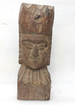 Antique Wooden Carved Bust Figure Sculpture Statue Tribal African Lady Head Face