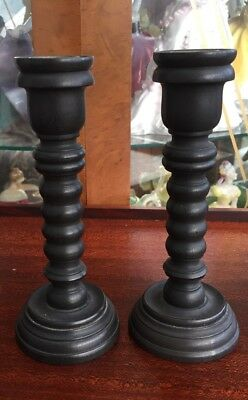 """a pair of real ebony turned candlesticks 6"""" tall"""