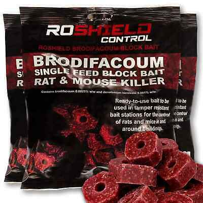 Roshield 900g Brodifacoum Single Feed Rat & Mouse Killer Control Poison Blocks