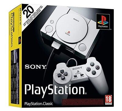 Sony Playstation Classic Console - New Sealed - 20 Preloaded Games-2 Controllers