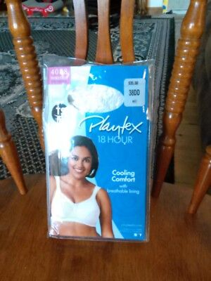 527d3fa39a NEW PLAYTEX 18 Hour Bra Size 38DD WIREFREE Cooling Comfort Lace 4088 White  NIP