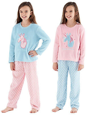 New Girls Super Soft Fleece Unicorn Dreams Nightwear Pyjamas Set Ages 5-13 Years
